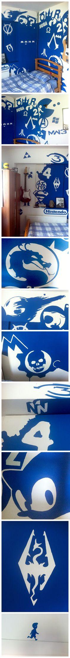 Gamer Geek Pop Culture collage mural. Bedroom painting by Reddit user nstens.