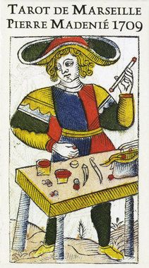 One of the oldest and most refined versions of the Tarot of Marseille, this deck was created in 1709 by master card maker and engraver Pierre Madenié of Dijon, France. The original engraved 18th-century deck is preserved in the Swiss National Museum of Zurich. This present facsimile, realized by YvesReynaud and Wilfred Houdouin, has been printed as a Limited Edition 78-card deck, with only 3000 hand-numbered copies available. Each comes wrapped in a reproduction of the original packing…