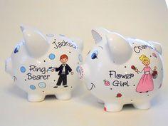 Ring Bearer Gift for Wedding Piggy Bank by LittleWhiteDogStudio
