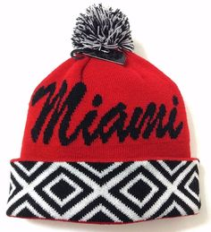 MIAMI POM BEANIE mu-Redhawk-Colors Script Winter Knit Men/Women Geometric Ohio #KBTradingCo #MiamiUniversityRedHawks