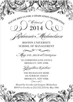 Classy Commencement - #Graduation Invitations - Hello Little One in a detailed black and white design