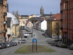 View from one corner of Norrköping city, with the Town Hall tower in Venetian style in the background.