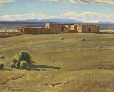 Ranchito, Taos, New Mexico (Maynard Dixon). Watercolor Landscape, Landscape Art, Landscape Paintings, New Mexico, Maynard Dixon, Southwestern Art, Desert Art, Landscape Concept, Mexican Artists