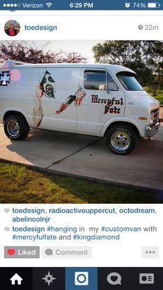 This Mercyful Fate van rules. Dodge Van, Chevy Van, Dodge Trucks, Jeep Truck, Cargo Van Conversion, Old School Vans, Vanz, Panel Truck, Cool Vans