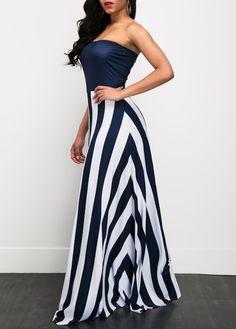 Sleeveless High Waist Stripe Print Maxi Dress on sale only US$34.90 now, buy cheap Sleeveless High Waist Stripe Print Maxi Dress at liligal.com