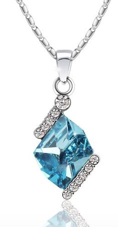 Amazon.com: Elegant Swarovski Elements Crystal Pendant Necklace - (Blue) 2016401: Jewelry