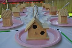 Paint your own birdhouse at an Owl Party!  See more party ideas at CatchMyParty.com!  #partyideas #owl