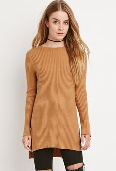 FOREVER 21 Side-Slit Ribbed Sweater