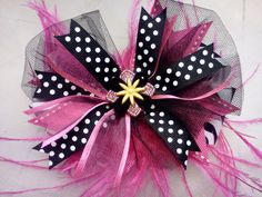 Black and Pink FooFoo Bowtique Bow by HodgePodgeBowtique on Etsy, $13.00