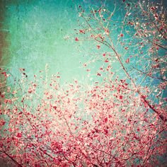 turquoise art pics   Blue Autumn, Pink leafs on blue, turquoise, green, aqua sky Art Print ...