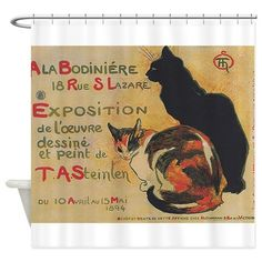Two Cats Vintage Poster Steinlen Shower Curtain