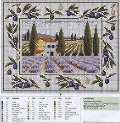ru / Фото - Lavande et olives - mtecuka Cross Stitching, Cross Stitch Embroidery, Cross Stitch Patterns, Olives, Cross Stitch House, Cross Stitch Landscape, Stitch 2, Cross Stitch Flowers, Garden