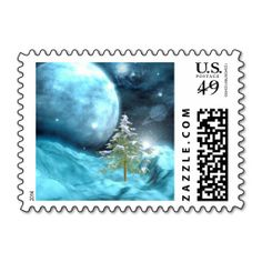 Outer Space Christmas Postage Stamp