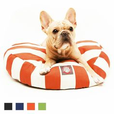 The Majestic Pet Vertical Stripe Dog Bed will have you wanting to snuggle onto it with your furry friend with its super plush polyester fiberfill for unbelievable comfort!
