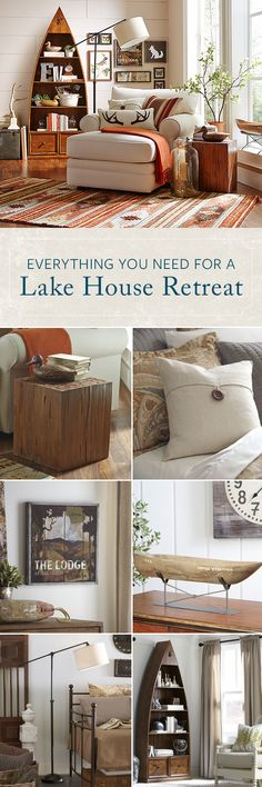 Lake House Retreat Designing your own Lake House Retreat is as easy as one, two, three: (1) Choose a warm color palette (with lake blue accents). (2) Add comfy seating for relaxing in after a long day on the water (or at the office). (3) Mix in plenty of wood elements with both furniture and decor. Want more ideas? Shop this look at Birchlane.com and enjoy Free Shipping on all orders over $49.