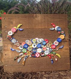 Crab Wall Art with Mixed Bottle Caps on Pallet by ReclaimedDaisy