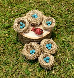 Our woodland miniature birds nests are carefully crafted with natural fiber material and contain tiny hand-painted eggs nestled in them.  They