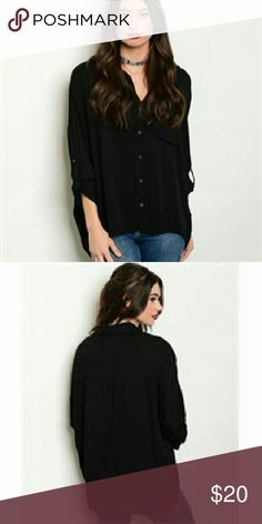 Black Button Down Blouse Long sleeve pocket front button down shirt. The fabric is 100% rayon , and I have them in sizes s,m,l. Tops Button Down Shirts
