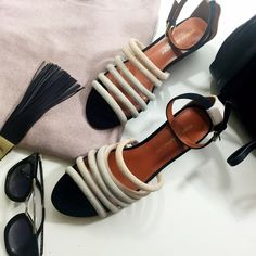 """Rebecca Minkoff Colorblock Wedge Sandals Details:  • Size 7.5 • Tan nude, blush nude, and black suede • Ankle strap • 2"""" wedge heel • Brand new in box Rebecca Minkoff Shoes Sandals"""