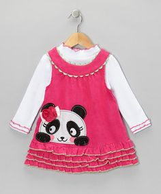 Splash a little one's wardrobe with sweet style and cozy convenience with the addition of this adorable duo. The mock neck top offers a touch of toasty warmth, while the dress gets a jazzy boost from a scalloped yoke neckline, a ruffled hem and a playful panda appliqué.