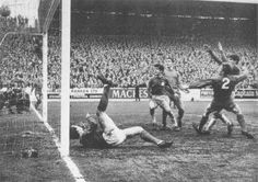 23rd October 1968. Leeds United winger Peter Lorimer grabs a vital goal against Standard Liege in the Fairs Cup.