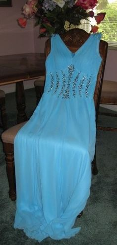 Elegant Custom Tailored Chiffon Sky Blue Formal/Prom/Wedding Ball Gown