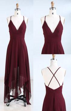 A-Line Prom Kleider, tiefe V-Ausschnitt Prom Kleider, Criss-Cross Straps Prom Kleider, asymmetrische Ballkleider, Burgund Prom Kleider, prom Kleider 2017