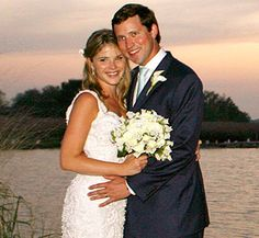 Jenna Bush poses with her husband, Henry Hager, following their wedding in Crawford, Texas