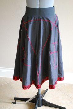 Devil's Trap Skirt -- Supernatural Inspired -- embroidered | SewGeekAustin - Clothing on ArtFire