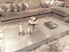 Love big coffee tables + oversized couches