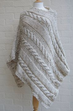 Chunky knit Oatmeal Poncho/ Women Poncho/ by StripesnCables