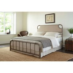 Joss & Main.com Copper pipe & upholstered headboard. Neutral + versatile bedframe.