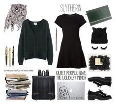 Slytherin - Modern School Look by realslytherinpride on Polyvore featuring Proenza Schouler, La Garçonne Moderne, Zara, Monki, Midori, Waterman, CO, modern, harrypotter and school