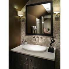 Designed to mimic the organic design of the Alissa tub models. Ideal for semi-recessed application. Like the light on the hardware. Eclectic Bathroom Sinks, Bathroom Sinks For Sale, Half Bathroom Decor, Brown Bathroom, Dream Bathrooms, Bathroom Interior Design, Bathroom Renovations, Bathroom Furniture, Modern Bathroom