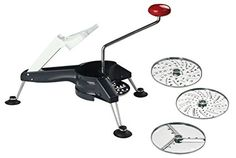 Westmark Multipurpose Heavy Duty Rotary Grater with 3 Interchangeable Stainless Steel Blades and Non-Slip Suction Pads