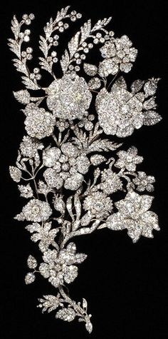 """""""Antique diamond (shoulder?) pin. Spray ornament, maker unknown, about 1850."""""""