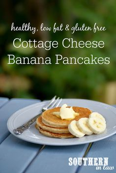 Healthy Banana Cottage Cheese Pancakes Recipe via @southerninlaw/ // healthy thick and fluffy pancake recipe - #glutenfree, #lowfat, #highprotein, #sugarfree, clean eating friendly #banana #pancakes #overripe