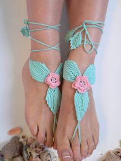 Crochet Barefoot Sandles Foot jewelry Wedding by LadyAlinaShop, $15.00
