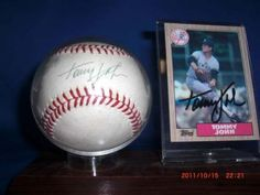 Tommy John Autographed Baseball and Topps 1987 Baseball Card in Custom Case | crazycollectors.com