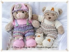 Buttoned Shorts & T-shirt Set for 16 inch Build a Bear Bunny/Teddy/Dog-build a bear, bunny, teddy, knitting pattern