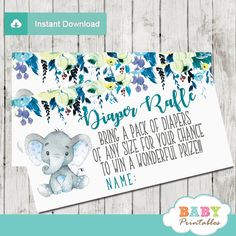 The elephant diaper raffle tickets feature an adorable baby boy elephant sitting against a white backdrop decorated with a beautiful watercolor floral arrangement in teal blue accents. This design uses artsy calligraphy in teal and grey, a beautiful color combination for an elephant baby shower theme boy. #babyshower #babyshowerideas #babyshowerpartyideas