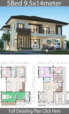 House design plan with 5 bedrooms. Style Modern TropicalHouse descriptio… House design plan with 5 bedrooms. Style Modern TropicalHouse description:Number of floors 2 storey housebedroom 4 roomstoilet 3 roomsmaid's room House Plans 2 Storey, Porch House Plans, House Layout Plans, Duplex House Plans, Bedroom House Plans, House Layouts, Dream House Plans, 2 Story House Design, Duplex House Design