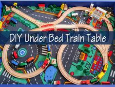 Woodworking Training DIY Slide Under the Bed Train Table · The Chirpy Toddler - My toddler wanted a train table, but I didn't want another thing taking up space in my house. So I made a train table that fit perfectly under his bed. Boys Train Room, Train Bedroom, Summer Fun For Kids, Diy For Kids, Transportation Room, Autumn Room, Diy Slides, Thomas The Train Birthday Party, Woodworking Bed
