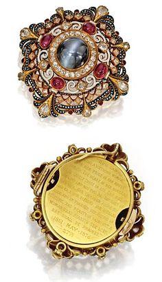 Renaissance revival Pendant/Brooch Of Gold, Cat's-Eye Chrysoberyl, Ruby, Diamond And Enamel