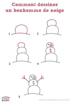 04341-dessiner-bonhomme-neige Basic Drawing, Drawing Lessons, Step By Step Drawing, Line Drawing, Easy Drawings For Kids, Drawing For Kids, Bullet Journal Travel, Directed Drawing, Learn To Draw