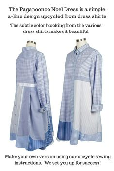 #Paganoonoo sets you up for upcycle #sewing success!  The Noel dress is a classic a-line made from dress shirts.