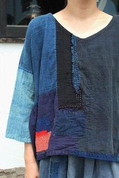 Japanese boro indigo patchwork shirt/sashiko/remake/handmade/natural… by darcy Sewing Clothes, Diy Clothes, Remake Clothes, Boro Stitching, Diy Vetement, Japanese Textiles, Altering Clothes, Dressmaking, Indigo