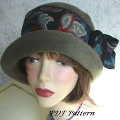 Vintage Womens Flapper HAT PATTERN  With Upcycled Trim Easy To Make May Resell Finished