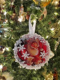 Vintage Style Recycled CD & Christmas Card Ornaments
