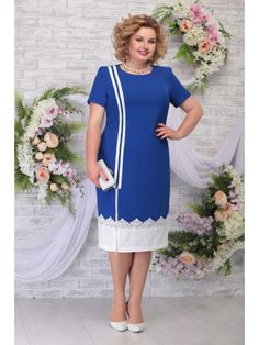 5790 василек, Ninele Short Sleeve Dresses, Dresses With Sleeves, Women's Dresses, Corporate Wear, High Neck Dress, Womens Fashion, How To Wear, Collections, Outfits